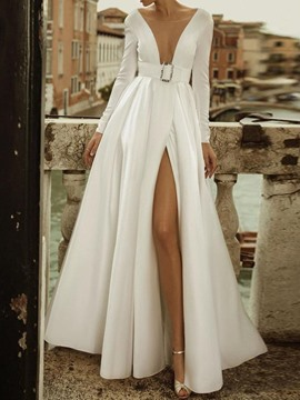 Ericdress Long Sleeve Backless Floor-Length Pullover Expansion Maxi Dress