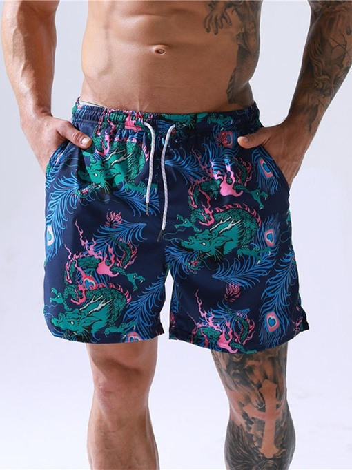 Ericdress Straight Floral Print Lace-Up Men's Beach Shorts