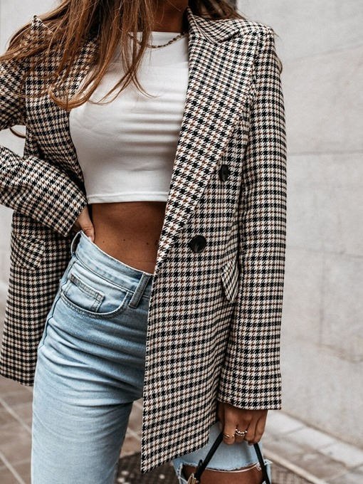 Ericdress Notched Lapel Plaid Double-Breasted Mid-Length Women's Casual Blazer
