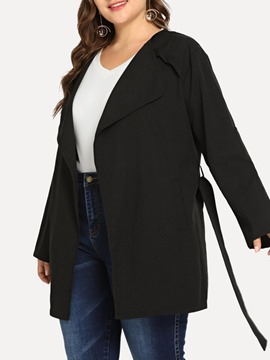 Ericdress Notched Lapel Mid-Length Simple Straight Trench Coat Plus Size