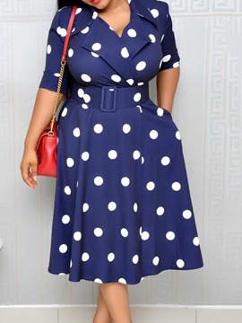 Ericdress Patchwork Notched Lapel Mid-Calf Sweet Pullover Dress