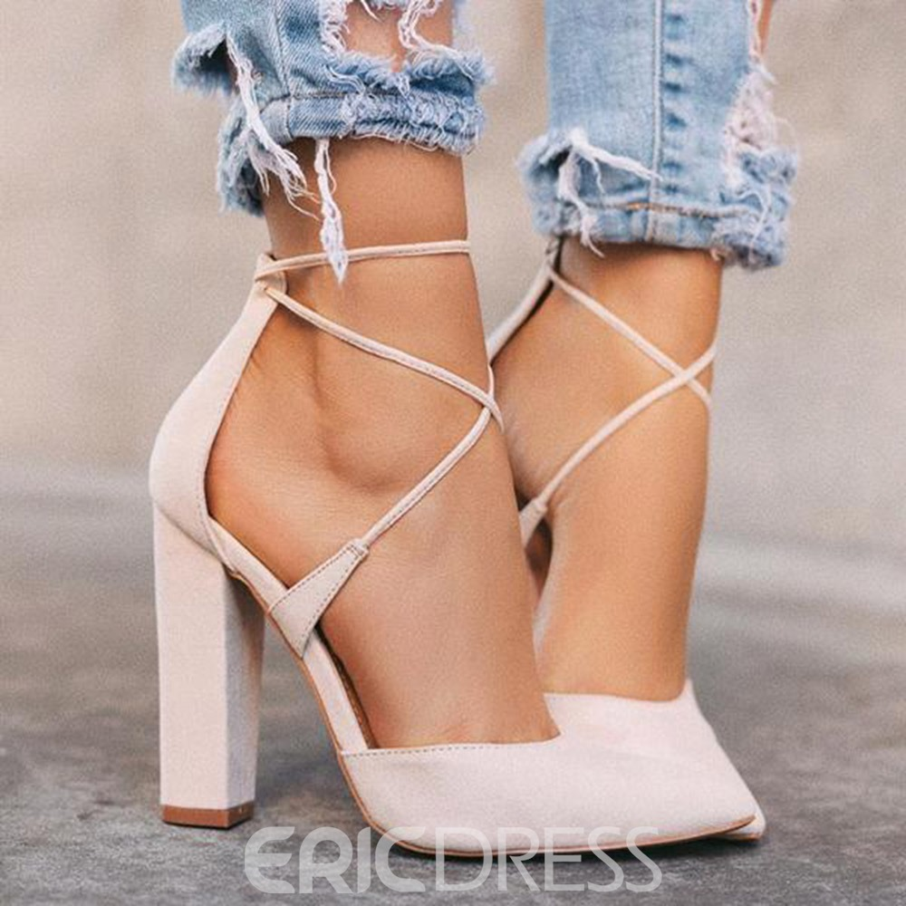 Ericdress Lace-Up Cross Strap Pointed Toe Ultra-High Heel(≥8cm) Thin Shoes