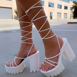 Ericdress Lace-Up Chunky Heel Toe Ring Plain Sandals