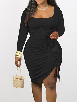 Ericdress Knee-Length Long Sleeve Lace-Up Sexy Bodycon Dress