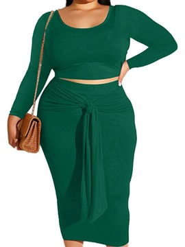 Ericdress Lace-Up Plain Skirt Bodycon Pullover Two Piece Sets Plus Size