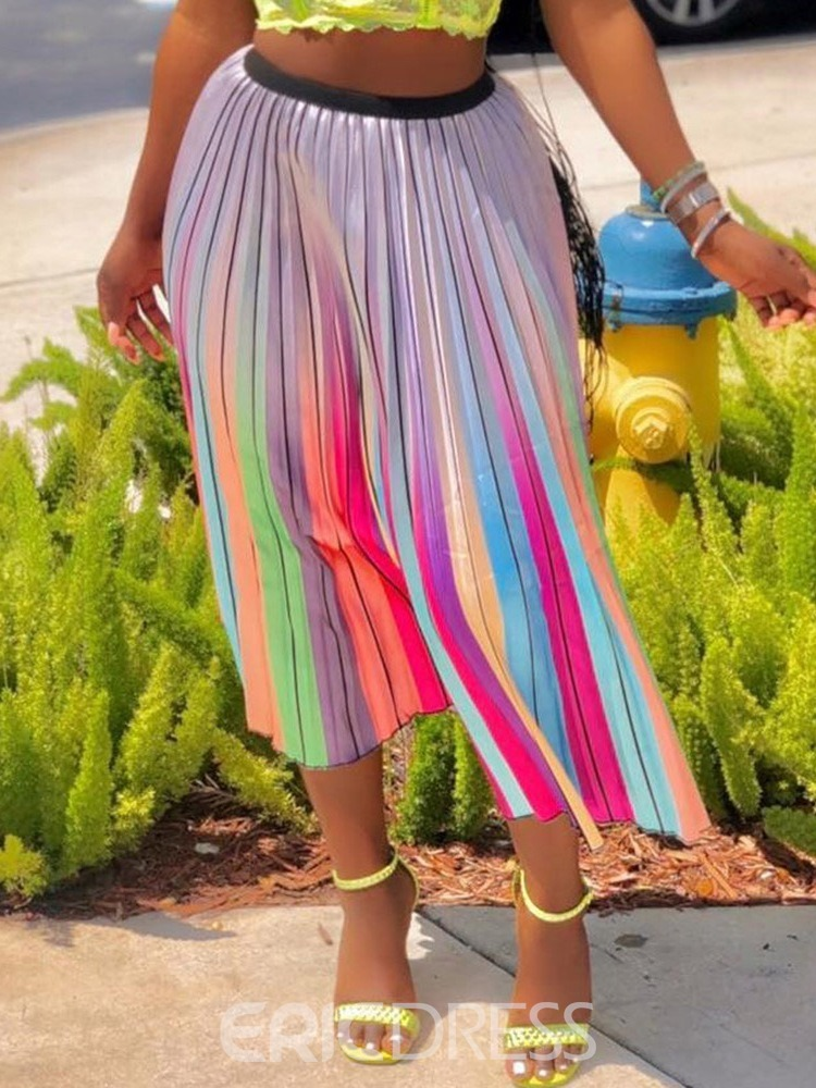 Ericdress Color Block Patchwork Pleated Mid Waist Sweet Skirt