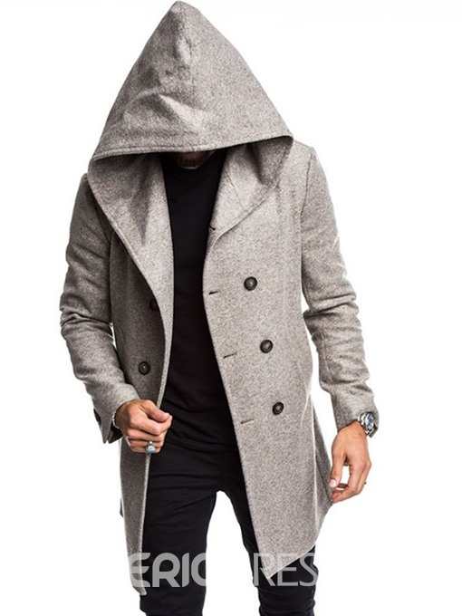 Ericdress Button Plain Hooded Double-Breasted European Men's Coat