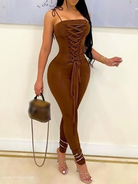 Ericdress Lace-Up Full Length Fashion Skinny Pencil Pants Women's Jumpsuit