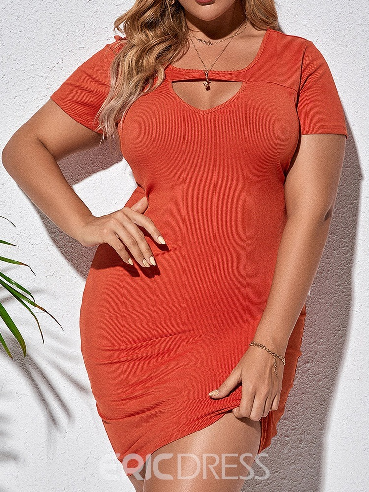 Ericdress Above Knee Hollow Short Sleeve Pullover Bodycon Dress Plus Size