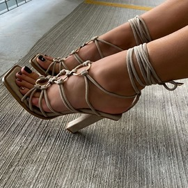 Ericdress Chunky Heel Open Toe Lace-Up Cross Strap Sandals