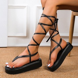 Ericdress Thong Lace-Up Flat With Plain Sandals