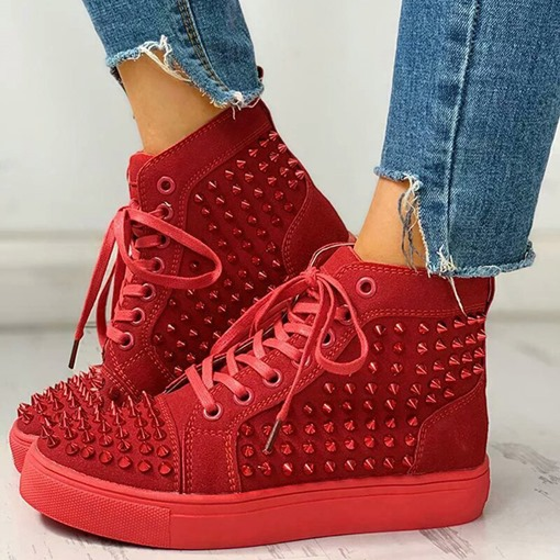 Ericdress Rivet Lace-Up Round Toe Flat With Sneakers