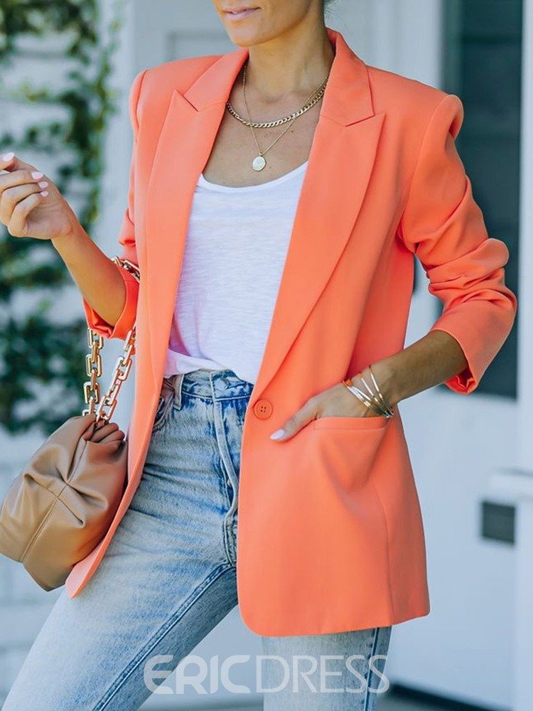 Ericdress Long Sleeve Plain Notched Lapel Mid-Length Spring Casual Blazer