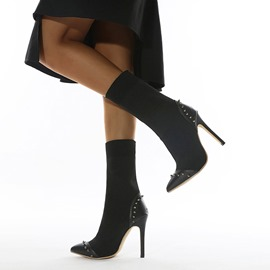 Ericdress Patchwork Pointed Toe Slip-On Western Boots