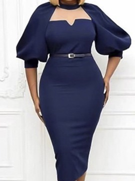 Ericdress Split Stand Collar Mid-Calf Pullover Office Lady Bodycon Dress