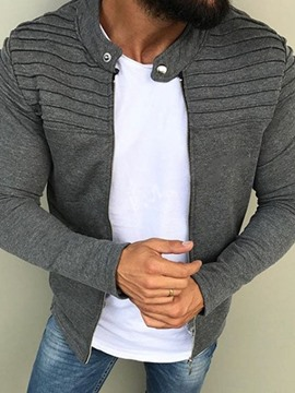 Ericdress Plain Stand Collar Pleated Men's Casual Jacket