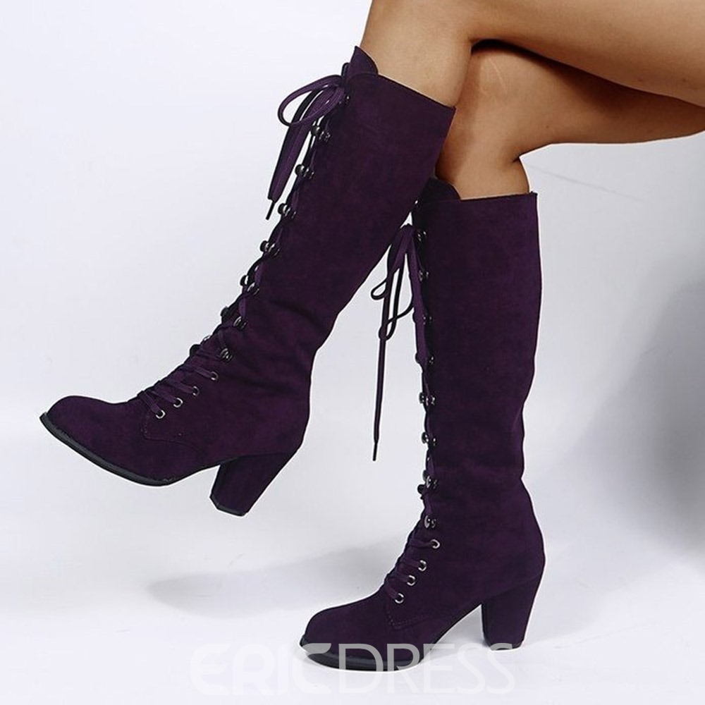 Ericdress Chunky Heel Plain Lace-Up Front Lace-Up Boots