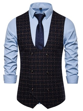 Ericdress Plaid Vintage Double-Breasted Men's Waistcoat