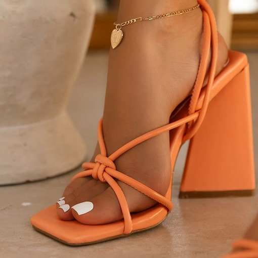 Ericdress Lace-Up Square Toe Chunky Heel Plain Sandals
