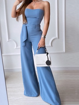 Ericdress Fashion Full Length Lace-Up Mid Waist Wide Legs Women's Jumpsuit