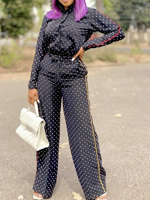 Ericdress Shirt Polka Dots Formal Single-Breasted Straight Two Piece Sets Women's Pants Set