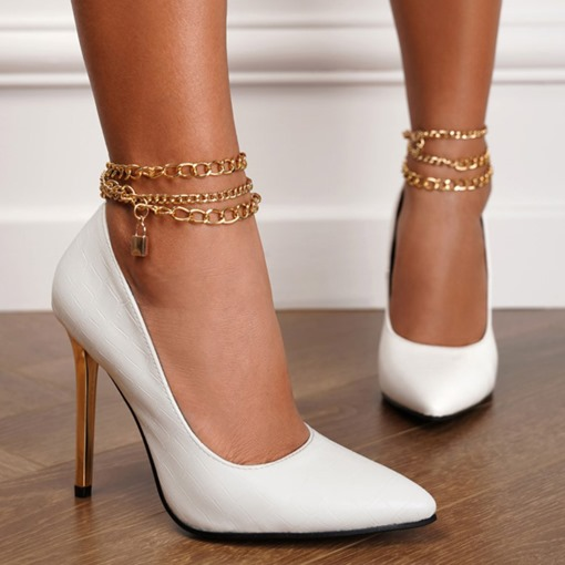 Ericdress Line-Style Buckle Pointed Toe Chain Ultra-High Heel(≥8cm) Thin Shoes
