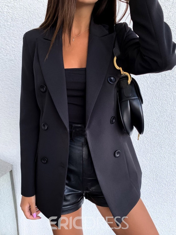 Ericdress Plain Notched Lapel Double-Breasted Fall Regular Women's Casual Blazer