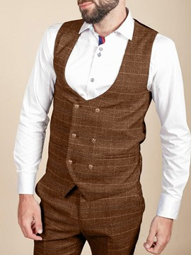 Ericdress Plaid Double-Breasted Vintage Men's Waistcoat
