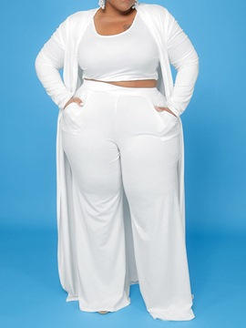 Ericdress Plain Sexy Pants Straight Wrapped Two Piece Sets Plus Size