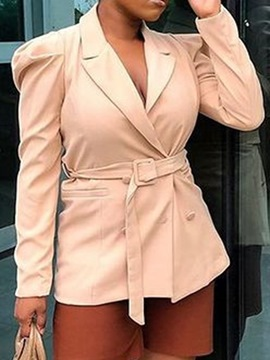 Ericdress Slim Double-Breasted Long Sleeve Belted Notched Lapel Blazer