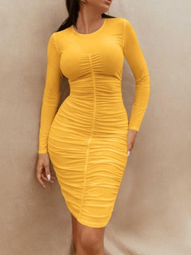 Ericdress Long Sleeve Round Neck Pleated Bodycon Fashion Dress