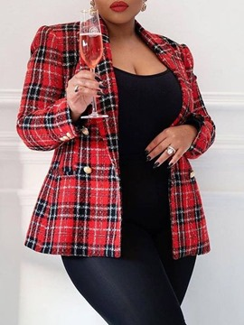 Ericdress Double-Breasted Notched Lapel Long Sleeve Plaid Fall Casual Blazer
