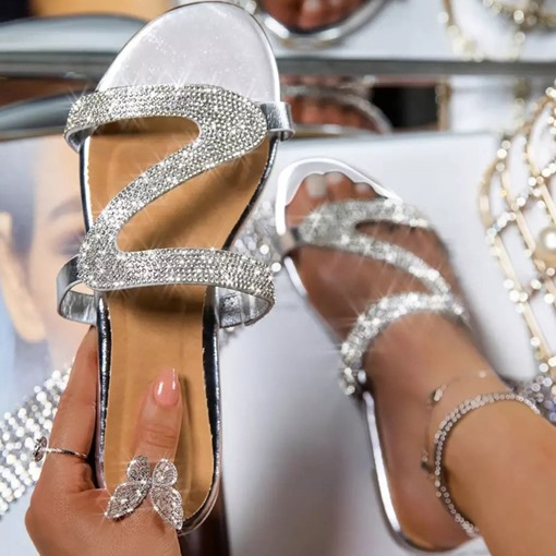 Ericdress Slip-On Flat With Rhinestone Casual Slippers