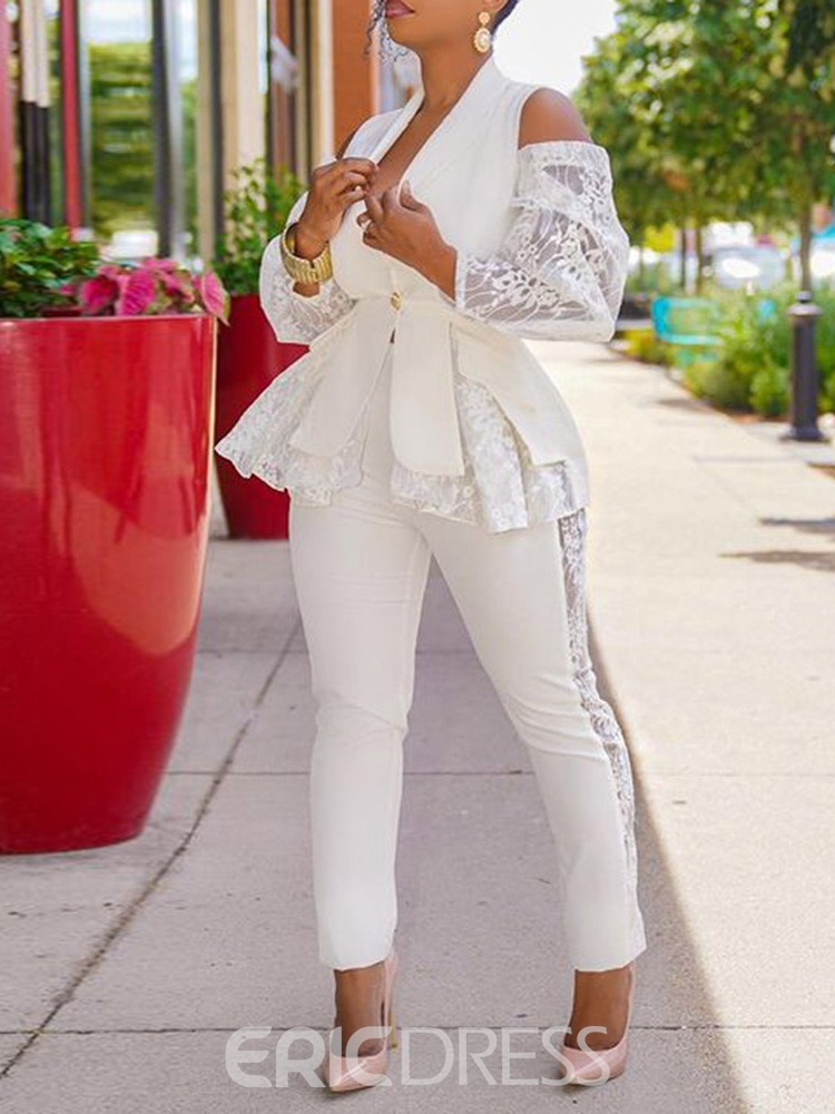 Ericdress White Lace Office Lady Shirt Pencil Pants One Button Two Piece Sets