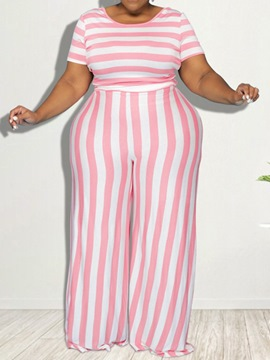 Ericdress Pants Western Stripe Straight Pullover Two Piece Sets Plus Size