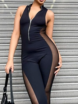 Ericdress Zipper Ankle Length Black Sexy Skinny Jumpsuit
