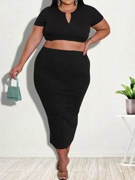 Ericdress T-Shirt Plain Sexy Bodycon Pullover Two Piece Sets Plus Size