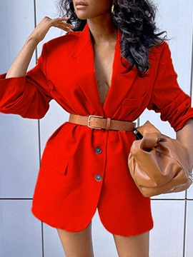 Ericdress Three-Quarter Sleeve Notched Lapel Single-Breasted Regular Mid-Length Women's Casual Blazer
