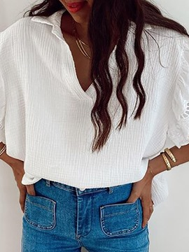 Ericdress White Lapel Short Sleeve Casual Blouse