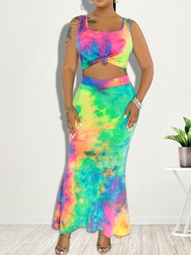 Ericdress Tie-Dye Fashion Gradient Mermaid Pullover Two Piece Sets