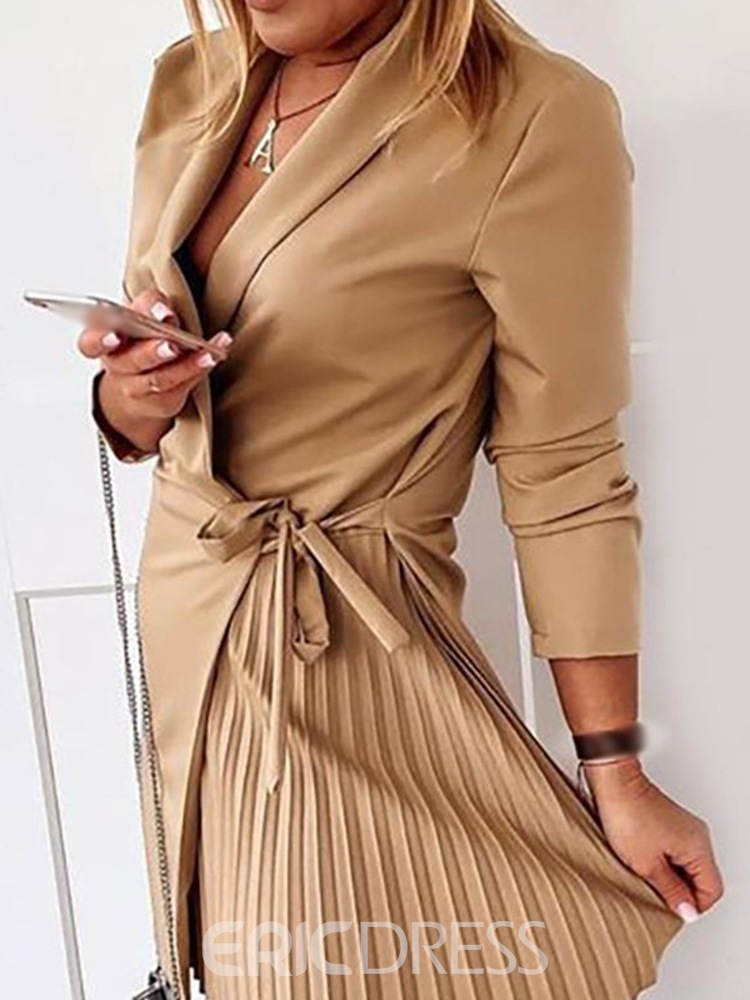 Ericdress Notched Lapel Lace-Up Above Knee Regular Fashion Bodycon Dress