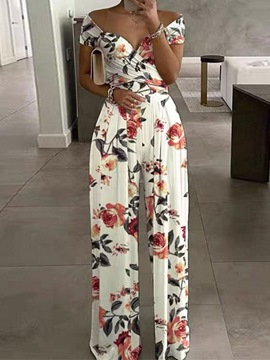 Ericdress Full Length Floral Fashion Straight Slim Jumpsuit