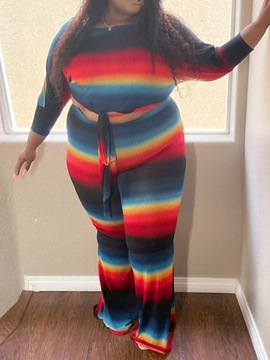 Ericdress T-Shirt Western Color Block Pullover Two Piece Sets