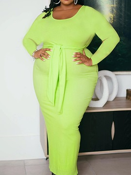 Ericdress Plus Size Lace-Up Long Sleeve Ankle-Length Fall Bodycon Dress