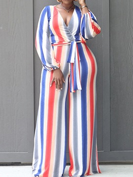 Ericdress Lace-Up Full Length Fashion Slim Straight Jumpsuit