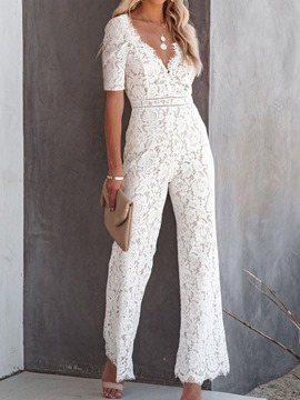 Ericdress White Lace Full Length Lace Slim High Waist Jumpsuit