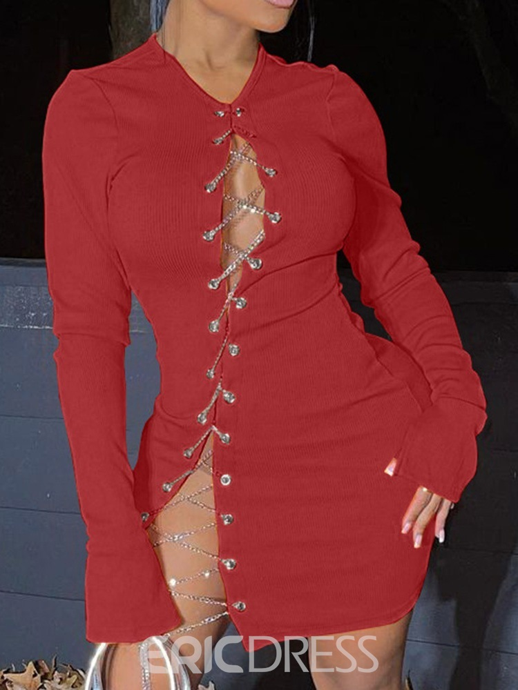 Ericdress Long Sleeve Hollow Knit Above Knee Bodycon Dress