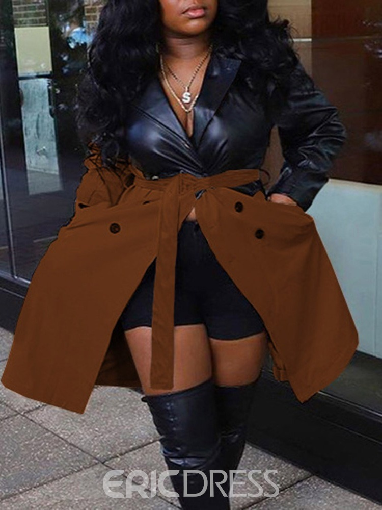 Ericdress Button Double-Breasted Long Long Sleeve Slim Trench Coat