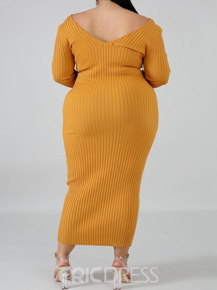 Ericdress Plus Size Ankle-Length Long Sleeve V-Neck Pullover Bodycon Dress