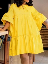 Ericdress Yellow Sleeve Above Knee Straight Casual Babydoll Dress